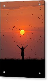 Silhouette Of Girl On Brow Of Hill At Sunset Acrylic Print