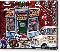 Marvins And Tabachnicks Grocery With J J Joubert Milk Truck Ball Ave Park Ex Montreal Memories Art Acrylic Print by Carole Spandau