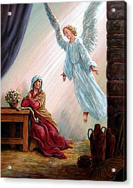 Mary And Angel Acrylic Print by John Lautermilch