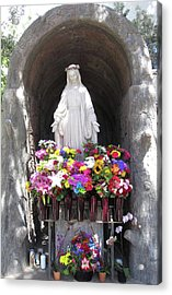 Mary At The Mission Acrylic Print by Mary Ellen Frazee