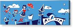 Mary Poppins Flying In Venice Skyline Acrylic Print by Arte Venezia