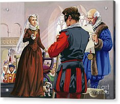 Mary Queen Of Scots About To Be Beheaded At Fotheringay Castle Acrylic Print by Pat Nicolle