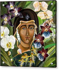 Mary With Orchids Acrylic Print by Mary jane Miller