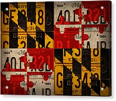 Maryland State Flag Recycled Vintage License Plate Art Acrylic Print by Design Turnpike