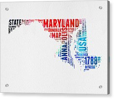 Maryland Watercolor Word Cloud  Acrylic Print by Naxart Studio