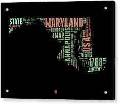 Maryland Word Cloud 1 Acrylic Print by Naxart Studio