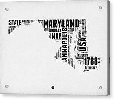 Maryland Word Cloud 2 Acrylic Print by Naxart Studio