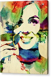 Marilyn And Her Drink Acrylic Print by Mihaela Pater