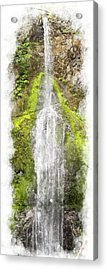Marymere Falls Wc Acrylic Print by Peter J Sucy