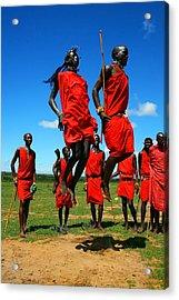 Masai Warrior Dancing Traditional Dance Acrylic Print