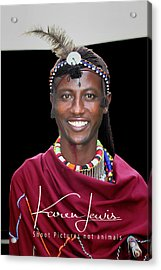 Acrylic Print featuring the photograph Masai Warrior by Karen Lewis