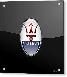 Maserati - 3d Badge On Black Acrylic Print