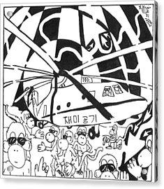 Mash Research Team Of Monkeys Maze Comic Acrylic Print by Yonatan Frimer Maze Artist
