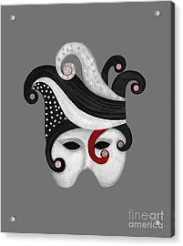 Mask In Black And White With Red Acrylic Print