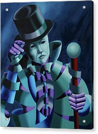 Mask Of The Magician - Abstract Oil Painting Acrylic Print by Mark Webster