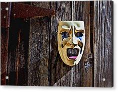 Mask On Barn Door Acrylic Print