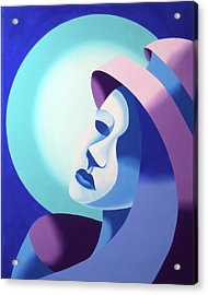 Mask On The Moon - Abstract Oil Painting Acrylic Print