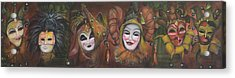 Acrylic Print featuring the painting Mask Row by Nik Helbig