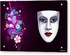 Mask With Blue Eyes Floral Design Acrylic Print