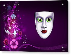 Acrylic Print featuring the photograph Mask With Green Eyes On Pink Floral Background by Gary Crockett
