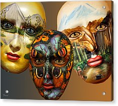 Masks On The Wall Acrylic Print by Farol Tomson