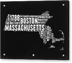Massachusetts Black And White Word Cloud Map Acrylic Print by Naxart Studio