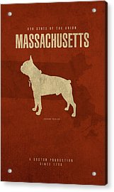 Massachusetts State Facts Minimalist Movie Poster Art Acrylic Print