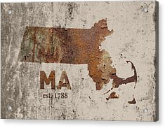 Massachusetts State Map Industrial Rusted Metal On Cement Wall With Founding Date Series 016 Acrylic Print by Design Turnpike