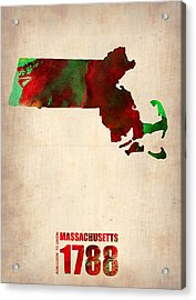 Massachusetts Watercolor Map Acrylic Print by Naxart Studio