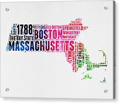 Massachusetts Watercolor Word Cloud Map  Acrylic Print by Naxart Studio