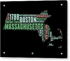 Massachusetts Word Cloud Map 1 Acrylic Print by Naxart Studio