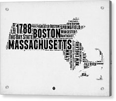 Massachusetts Word Cloud Map 2 Acrylic Print by Naxart Studio