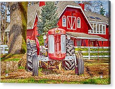 Masseytractor At Red Farm House Acrylic Print by William Havle