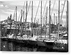 Masts In The Harbor Acrylic Print by John Rizzuto