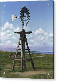 Acrylic Print featuring the painting Matagorda Beach Windmill by Jimmie Bartlett