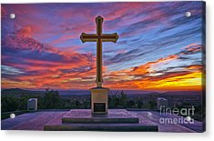 Christian Cross And Amazing Sunset Acrylic Print