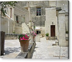 Matera With Flowers Acrylic Print by Italian Art