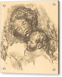 Maternity -maternite Acrylic Print by Auguste Renoir