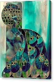 Mating Season Stained Glass Peacock Acrylic Print