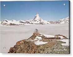 Matterhorn And Fog Acrylic Print by Christine Amstutz