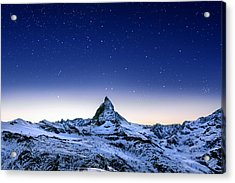 Acrylic Print featuring the photograph Matterhorn Night by Nikos Stavrakas