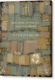 Acrylic Print featuring the painting Matthew Bible Verse by Carrie Joy Byrnes