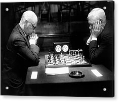 Mature Men Playing Chess, Profile (b&w) Acrylic Print by Hulton Archive