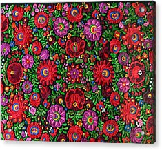 Matyo Hungarian Magyar Folk Embroidery Detail Acrylic Print