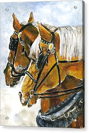 Maude And Ben Acrylic Print by Mary Armstrong