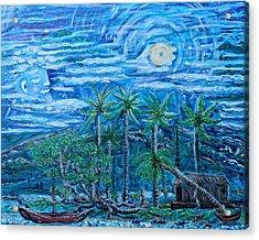 Maui Pearl Moon Acrylic Print by Podge Elvenstar