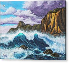 Acrylic Print featuring the painting Maui Rugged Coast  by Darice Machel McGuire