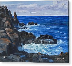 Acrylic Print featuring the painting Maui Rugged Coastline by Darice Machel McGuire