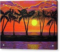 Maui Sunset Palm Trees Acrylic Print