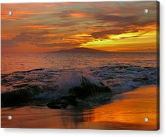 Acrylic Print featuring the photograph Maui Sunset Reflections by Stephen  Vecchiotti
